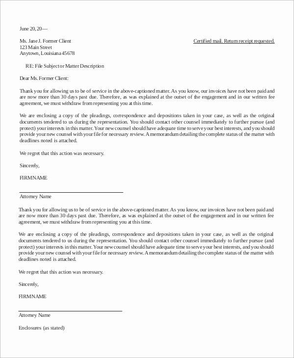 Letter Of Representation Sample attorney Best Of Letter Of Termination Sample 10 Examples In Word Pdf