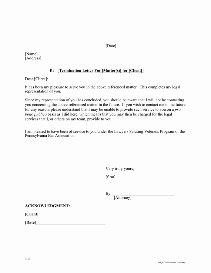Letter Of Representation Sample attorney Fresh Sample Pro Bono Termination Letter In Word and Pdf formats