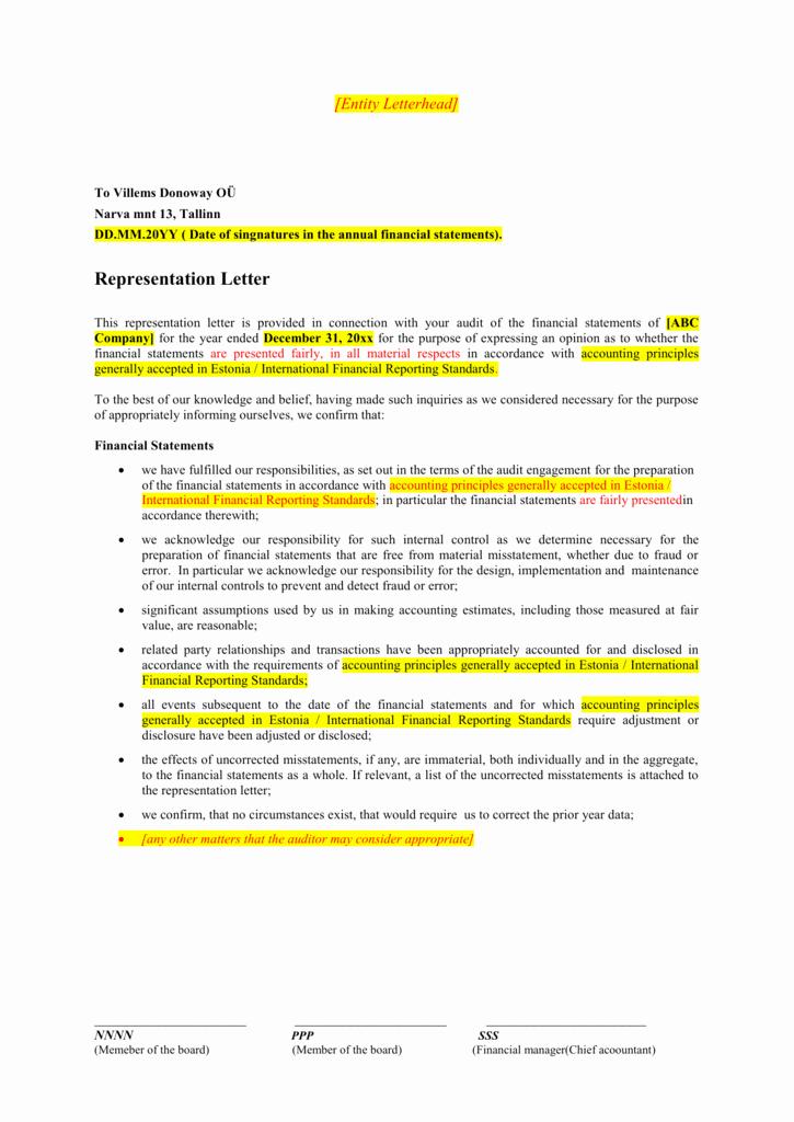 Letter Of Representation Sample Luxury Management Representation Letter