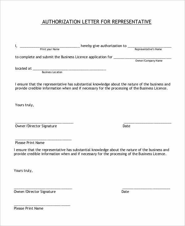 Letter Of Representation Sample Luxury Sample Authorization Letter 10 Examples In Word Pdf