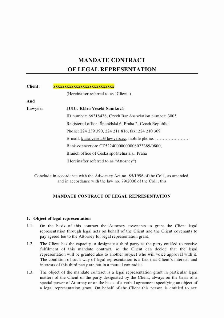 Letter Of Representation Sample New Mandate Contract Legal Representation Client and Lawyer