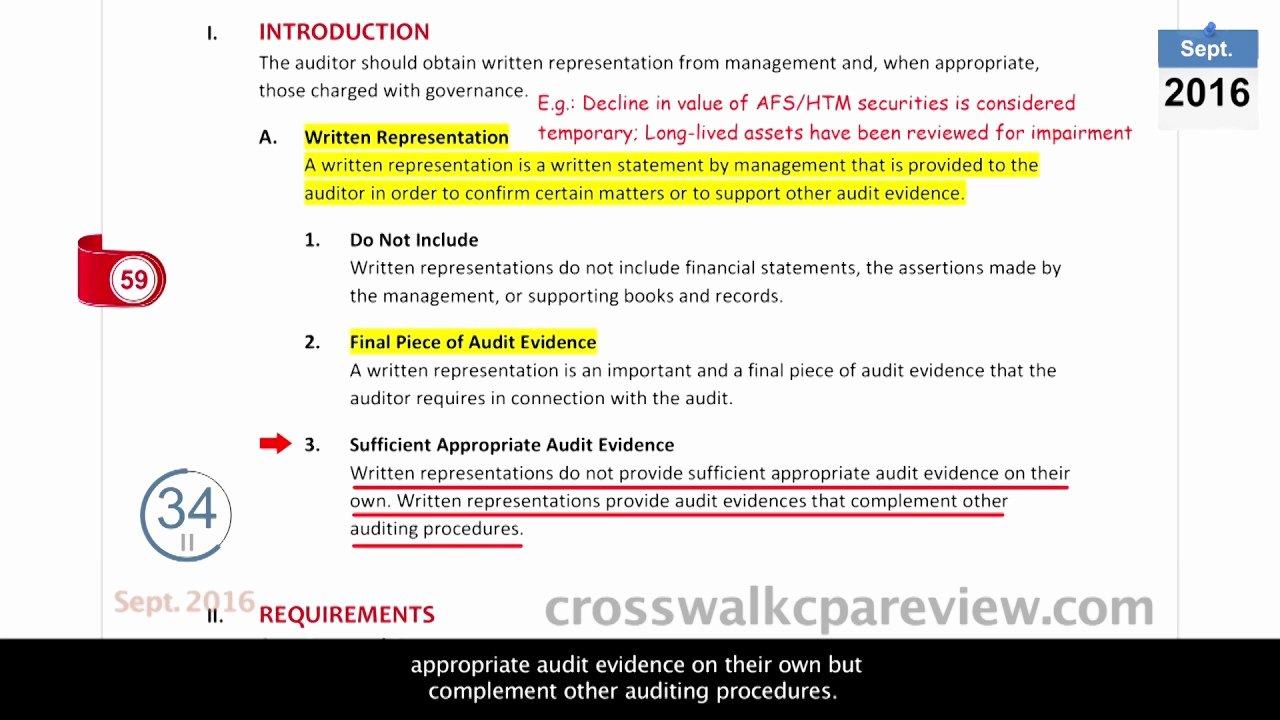 Letter Of Representation Unique Easy Cpa Course Lecture Aud Management Representation