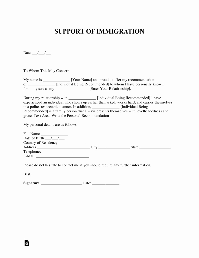 Letter Of Support for Immigration Awesome Free Character Reference Letter for Immigration Template