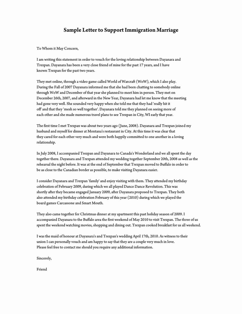 Letter Of Support for Immigration Unique Reference Letter to Support Immigration Marriage Samples