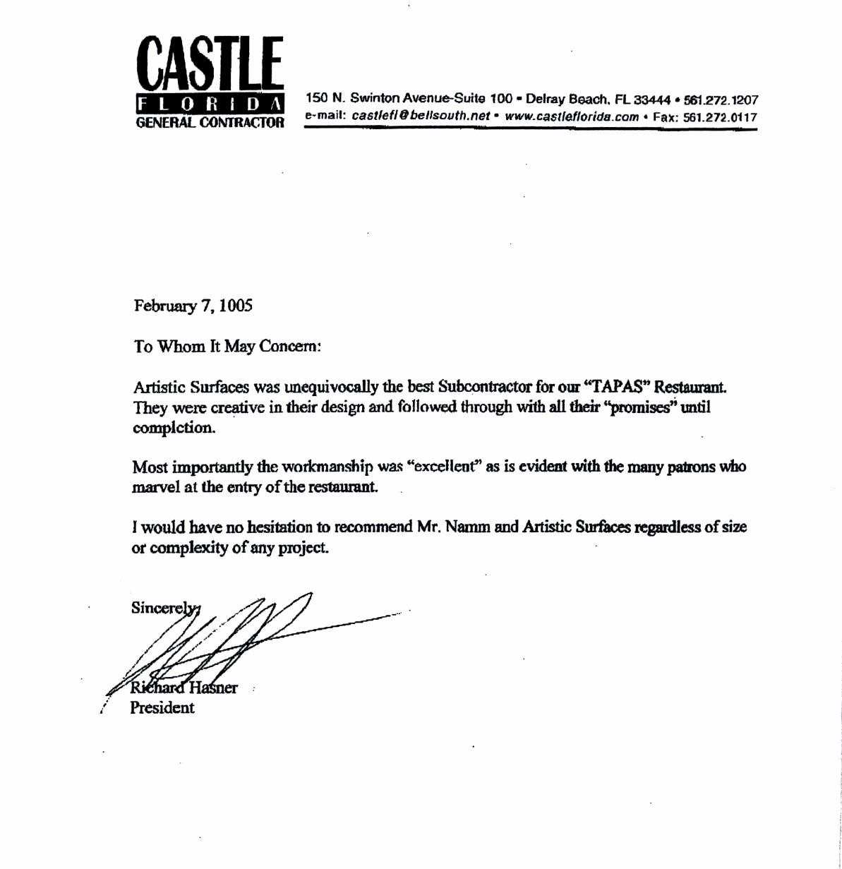 Letter Of Testimony Example Awesome Artistic Surfaces Testimonials and Ratings