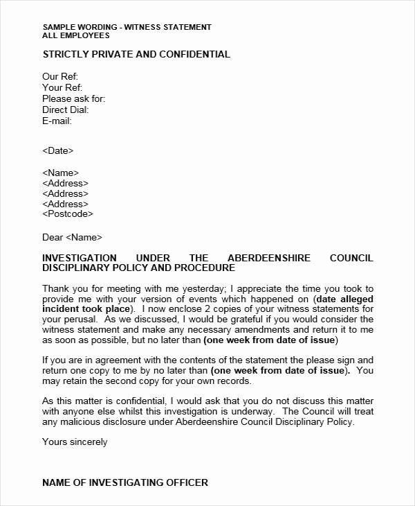 Letter Of Testimony Example Fresh 18 Witness Letter format Pdf