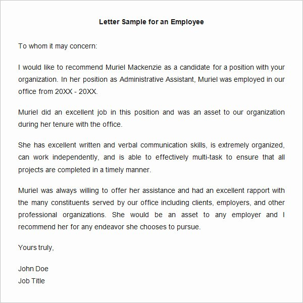 Letter Of Testimony Sample Beautiful 18 Employee Re Mendation Letters Pdf Doc