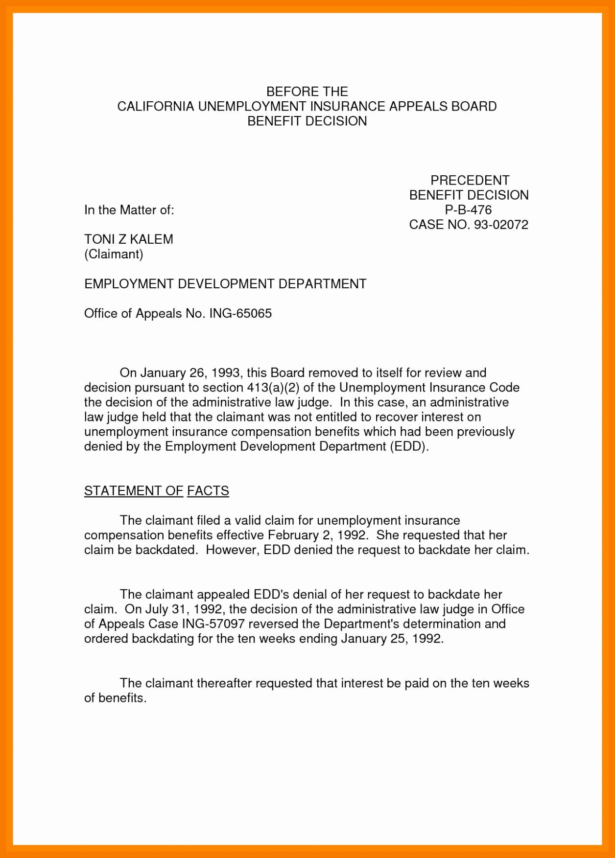 Letter Of Unemployment Sample New 10 11 Sample Of Appeal Letter for Disqualification