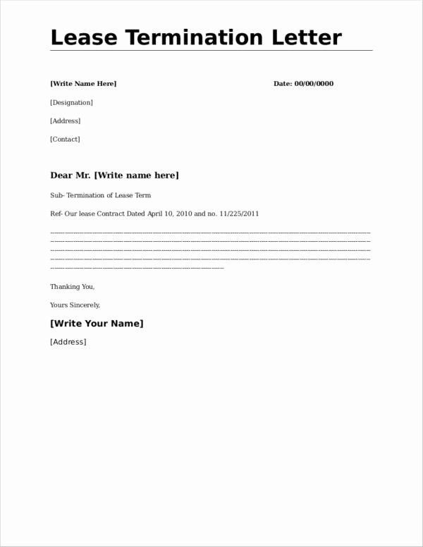 Letter to End Lease Early Awesome What to Include In A Mercial Lease Termination Letter