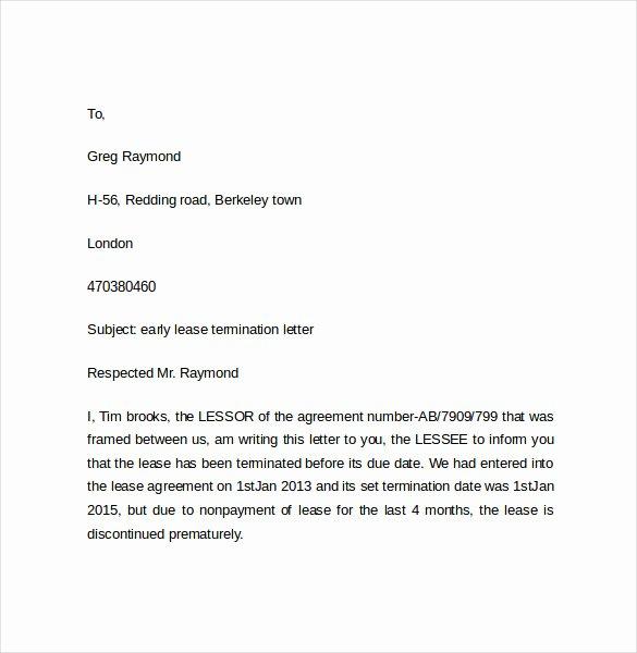 Letter to End Lease Early Beautiful Early Lease Termination Letters 9 Download Free