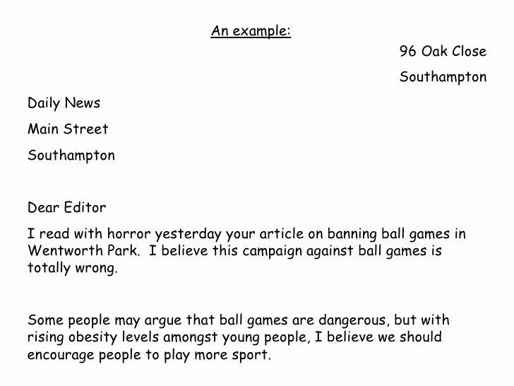 Letter to the Editor Template for Students Awesome Argue and Persuade