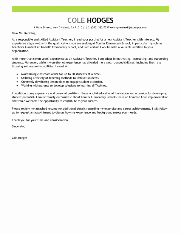 Letters Of Interest for Teaching Inspirational Best assistant Teacher Cover Letter Examples