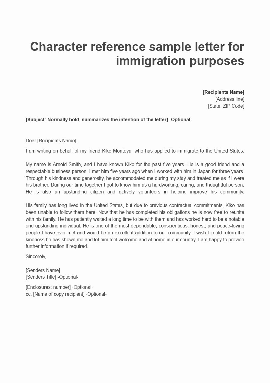 Letters Of Support for Immigration Beautiful 36 Free Immigration Letters Character Reference Letters