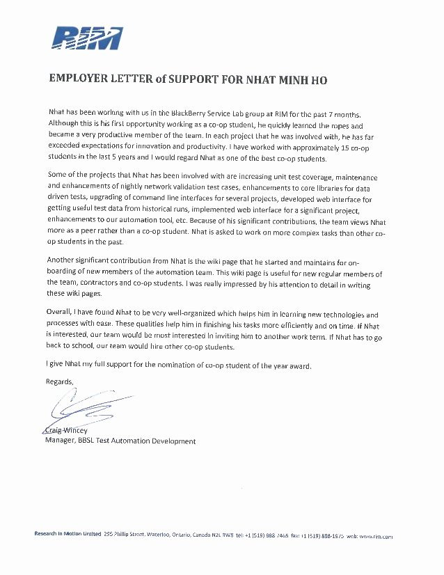 Letters Of Support for Immigration Luxury Employer Letter Support