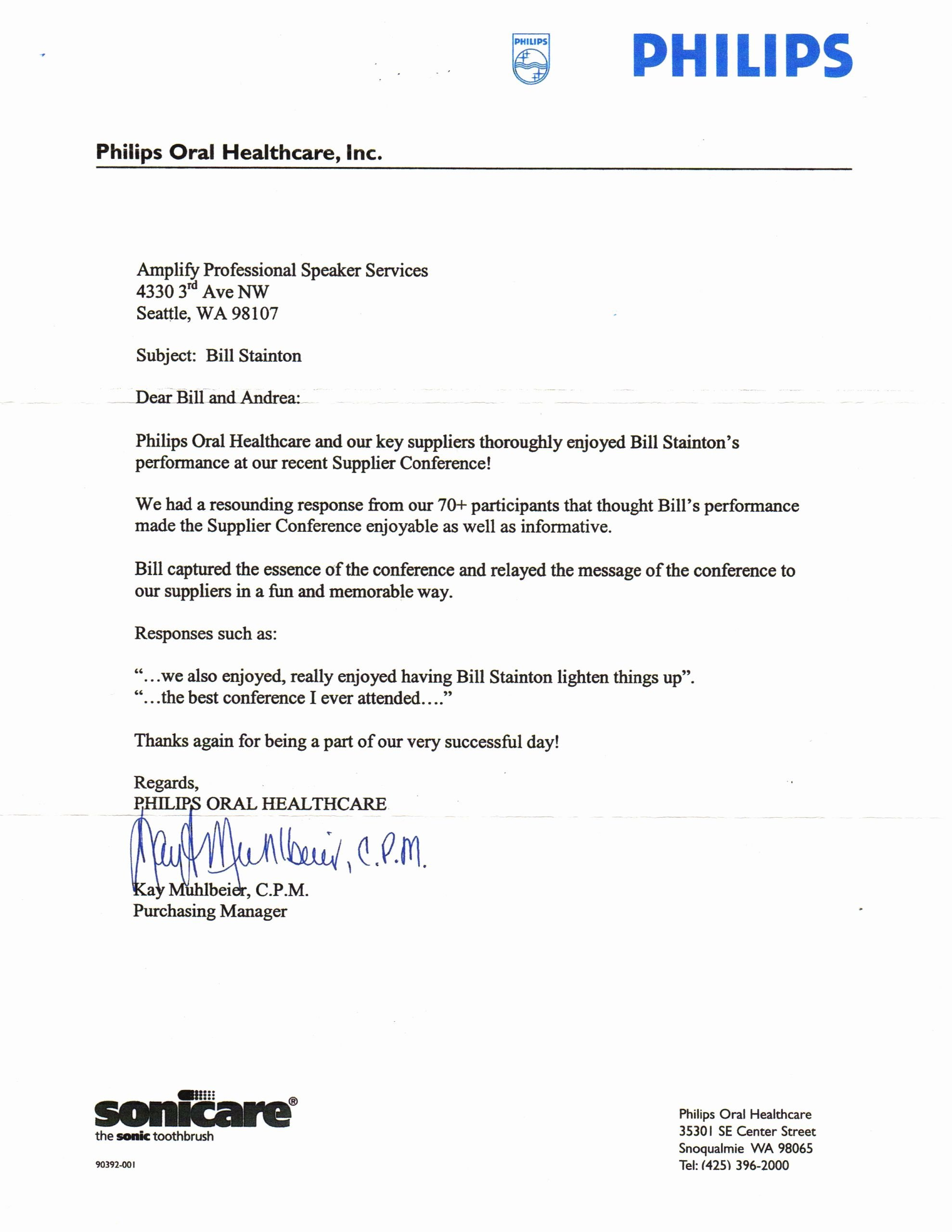 Letters Of Testimony Sample Elegant Philips Testimonial Letter the Executive Producer