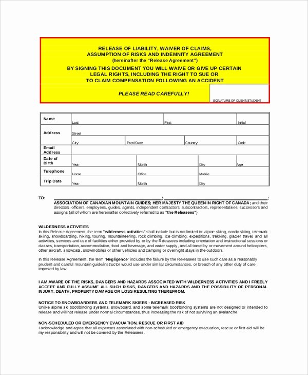 Liability Release forms Elegant Sample Release Of Liability form 9 Examples In Pdf Word