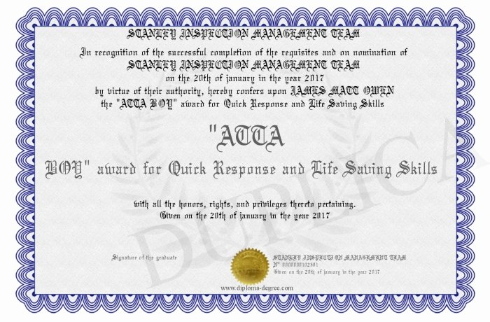 Life Saving Award Certificate Beautiful atta Boy Award for Quick Response and Life Saving Skills