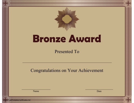 Life Saving Award Certificate Beautiful Printable Bronze Award Certificate