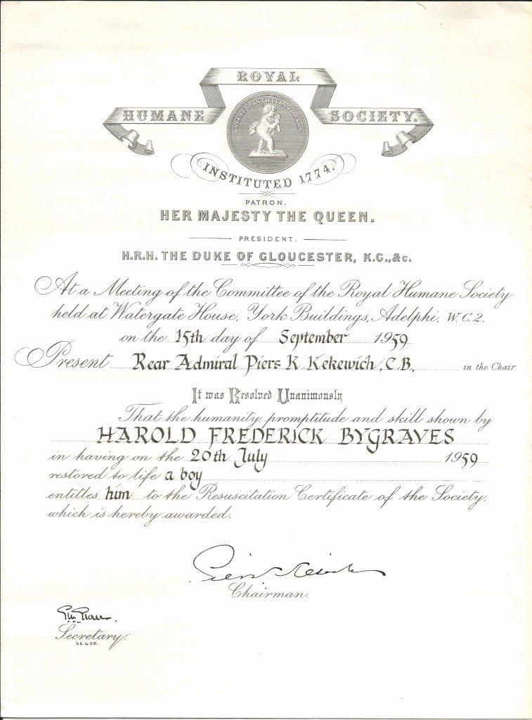 Life Saving Award Certificate Fresh Harry bygrave Of the Royal Life Saving society 1928 – 1970