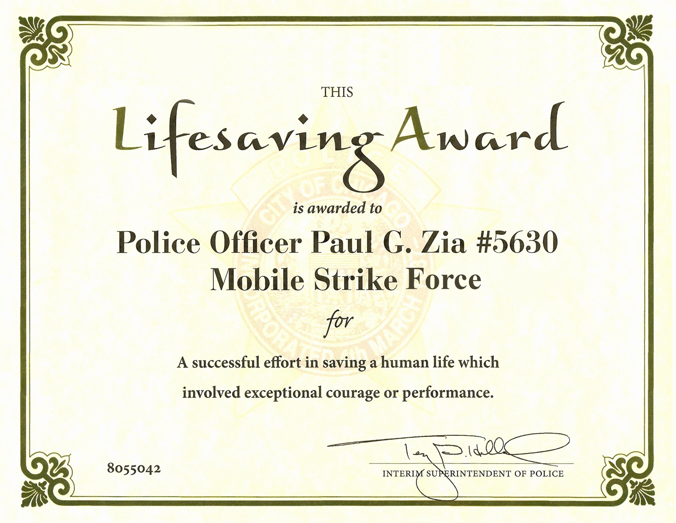 Life Saving Award Certificate Lovely Ribbon Awards Chicagocop