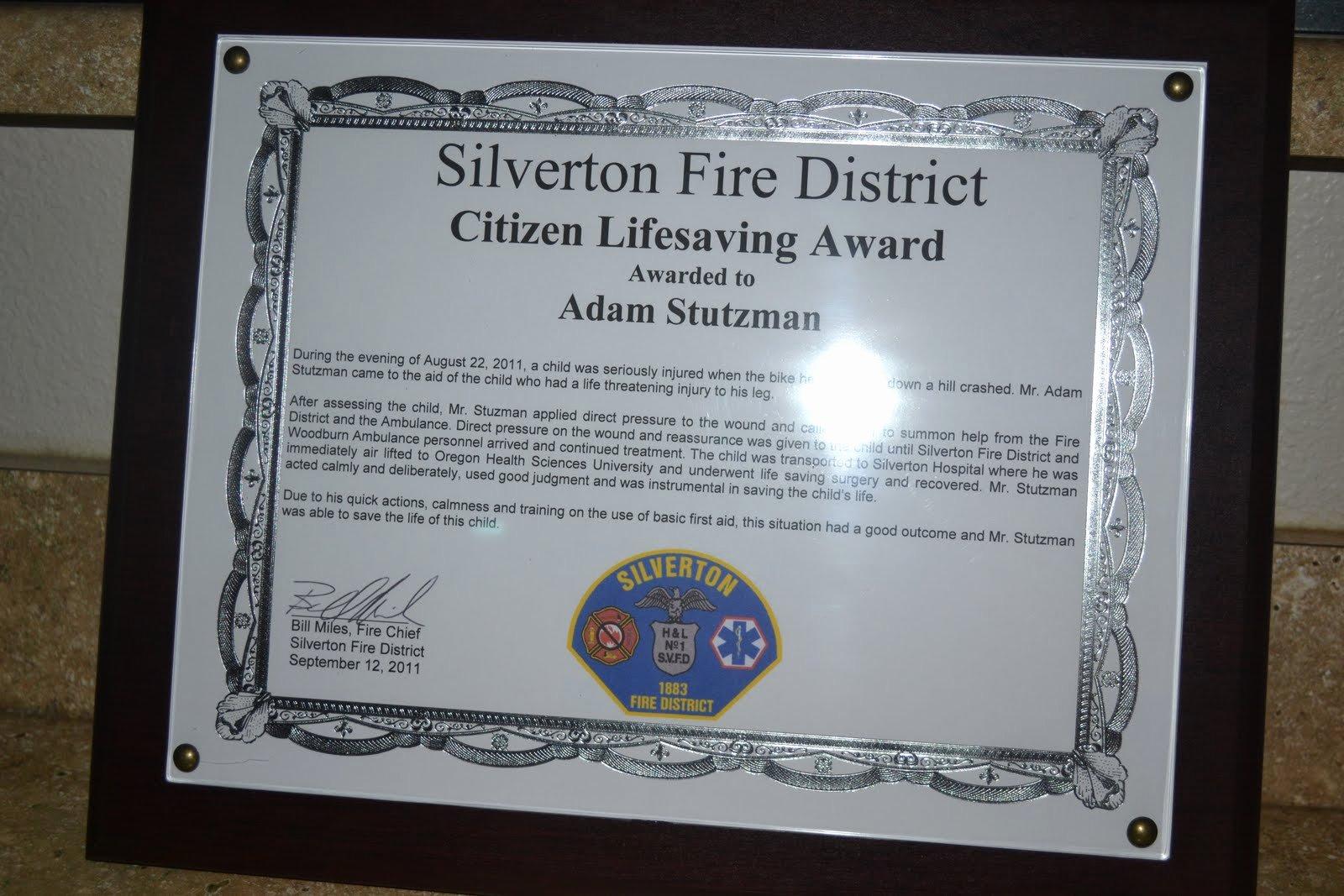 Life Saving Award Certificate Luxury the Stutzman Family Treasures Through His Grace Adam