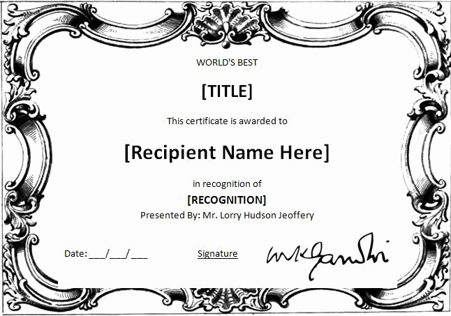 Life Saving Award Certificate New Ms Word World S Best Award Certificate Template