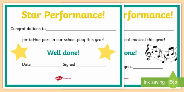 Life Saving Award Template Awesome School Performance Award Certificates Roi Drama Acting