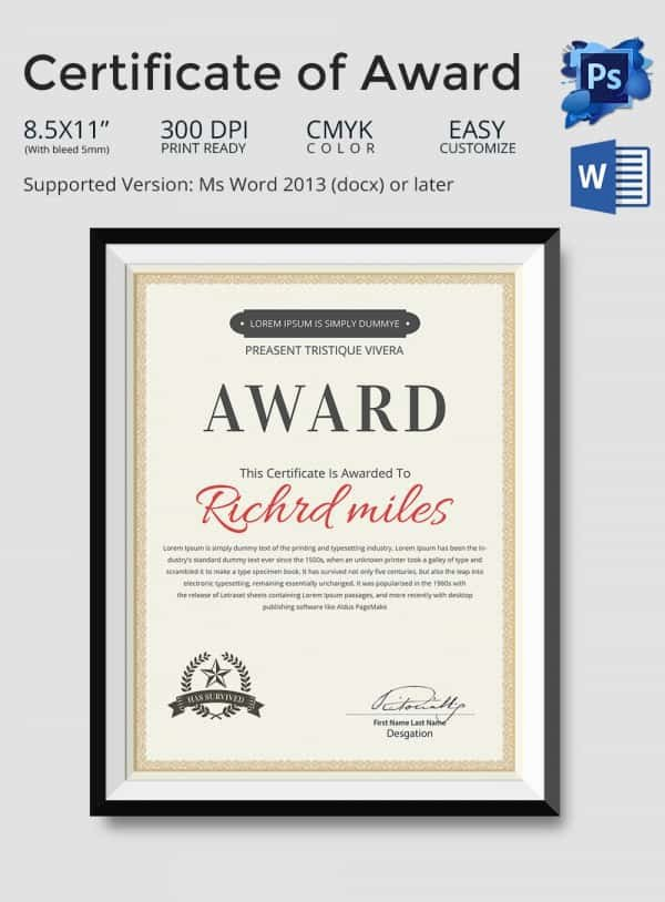 Life Saving Award Template Beautiful 43 formal and Informal Editable Certificate Template