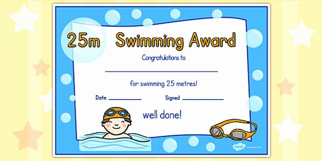 Life Saving Award Template Lovely 25m Swimming Certificate Swimming Certificate 25m Awards
