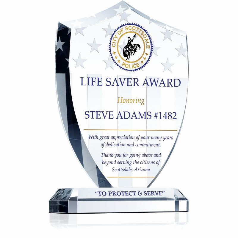 Life Saving Award Wording New Police Life Saver Award Gift Wording Sample by Crystal