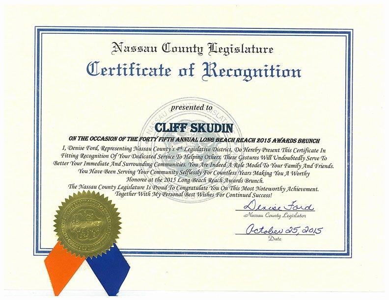 Life Saving Award Wording Unique Nassau County Certificate Of Recognition Skudin Surf