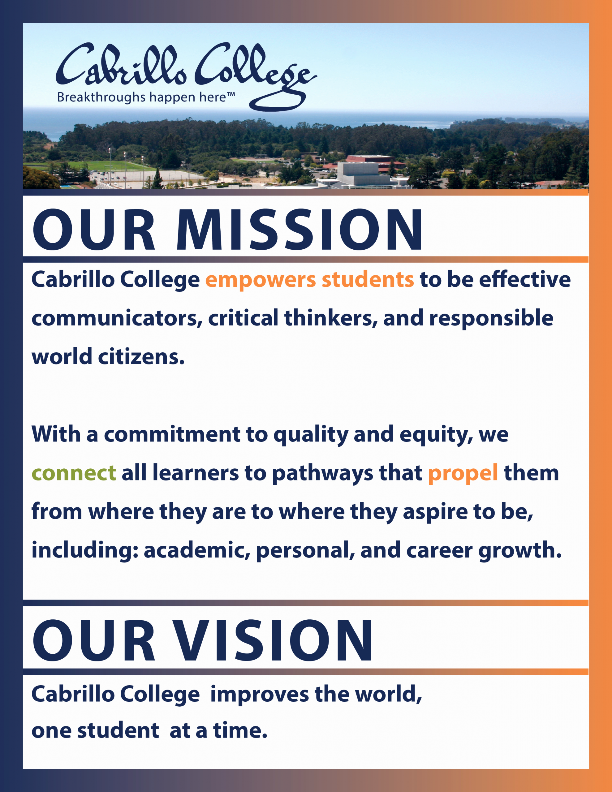 Lifetime athletic Mission Statement Beautiful Cabrillo College