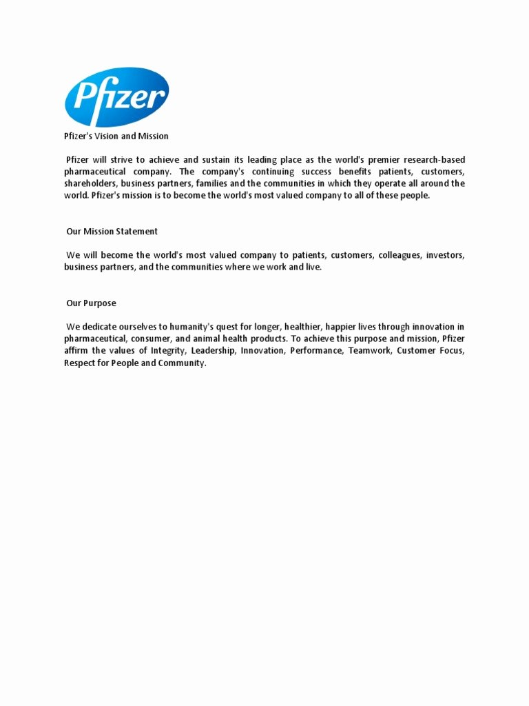 Lifetime athletic Mission Statement Elegant Pfizer Mission and Vision