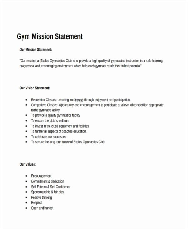Lifetime athletic Mission Statement Fresh Free 54 Mission Statement Examples & Samples In Pdf