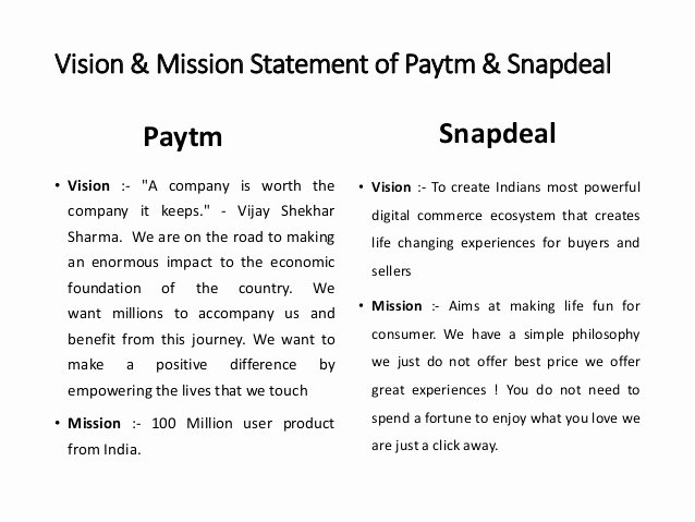 Lifetime Fitness Mission and Vision Statement Elegant Paytm Vs Snapdeal