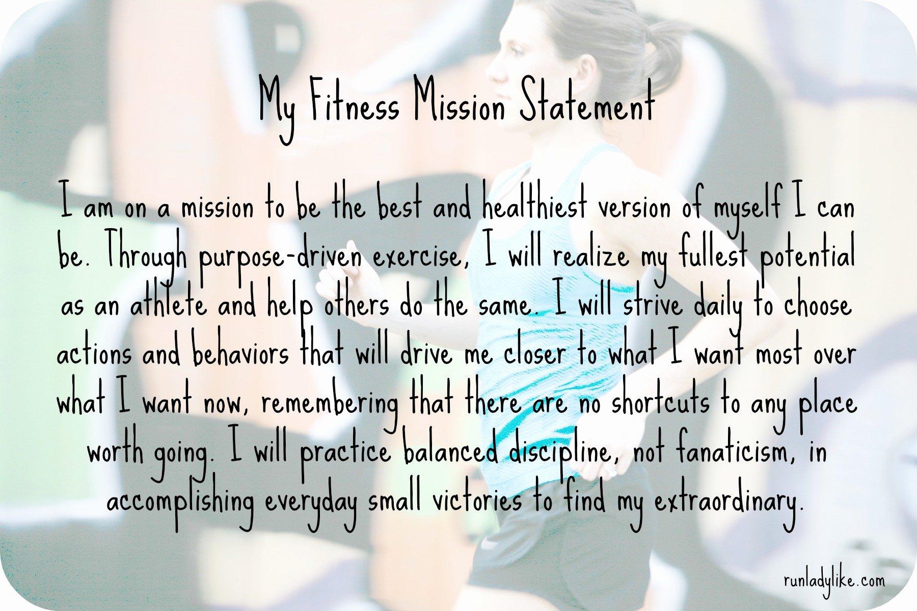 Lifetime Fitness Mission Statement Fresh My Fitness Mission Statement Runladylike