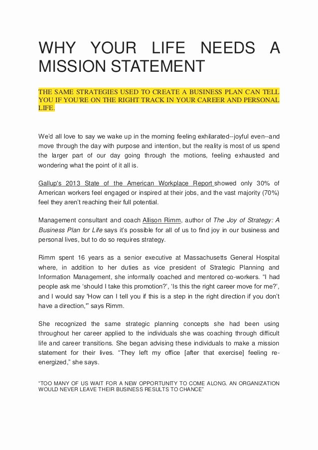 Lifetime Mission Statement Beautiful why Your Life Needs A Mission Statement