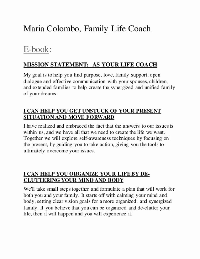 Lifetime Mission Statement Best Of E Book Maria Colombo Family Life Coach Services Pdf