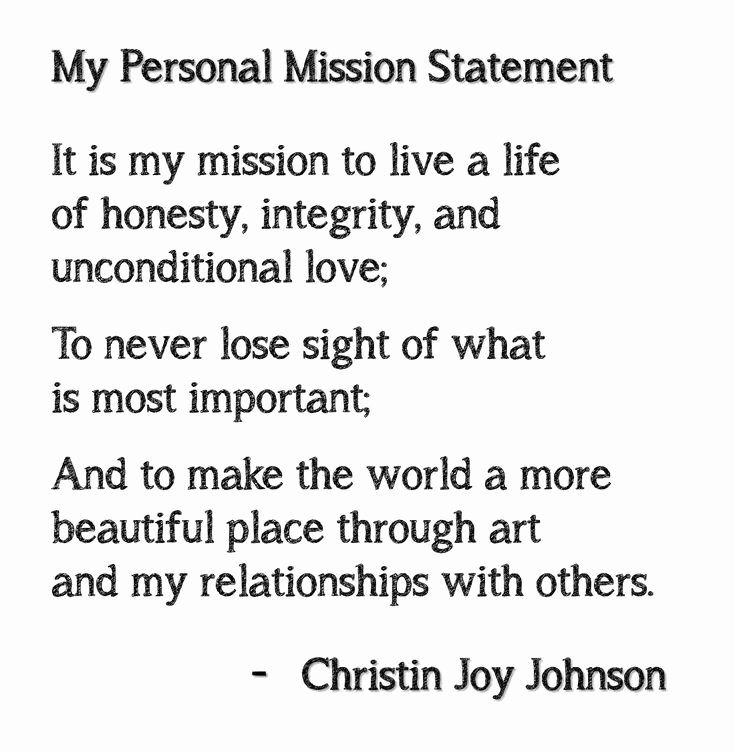 Lifetimes Mission Statement Inspirational Personal Mission Statement