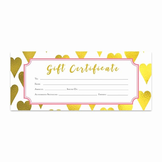 Lipsense Gift Certificate Template Awesome Gold Heart Heart Gold Foil Gift Certificate Download