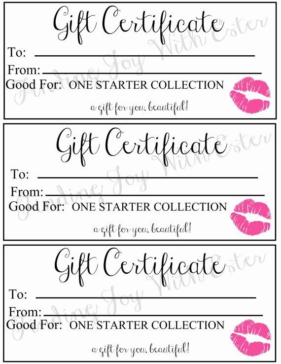 Lipsense Gift Certificate Template Elegant Lipsense Starter Collection Gift Certificate Pink
