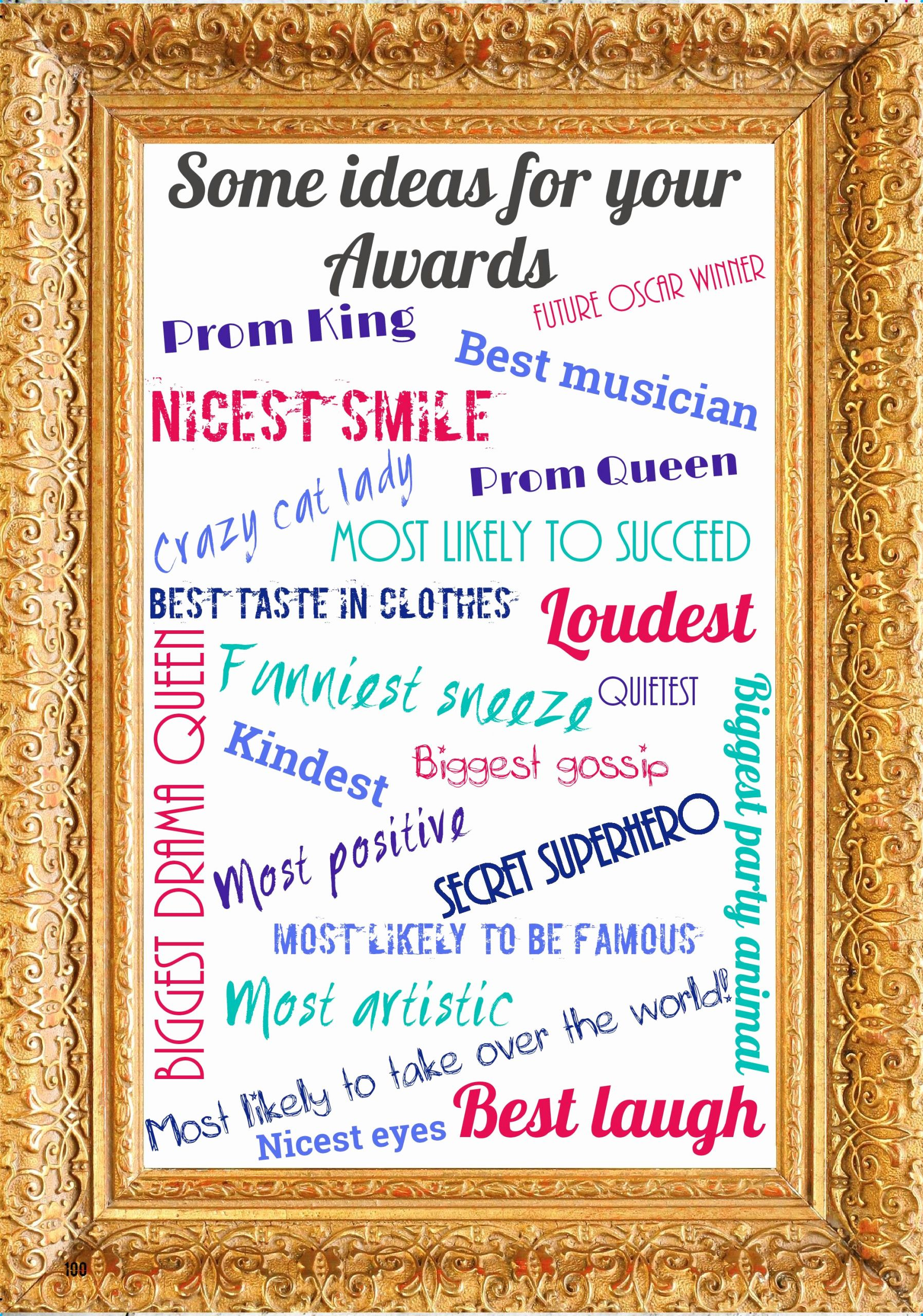 List Of Funny Awards for Students Lovely Ideas for Awards Categories – Leavers Yearbooks From £9 99