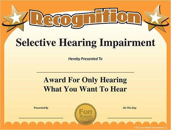 List Of Funny Awards for Students Luxury Funny Free Award Certificate Selective Hearing