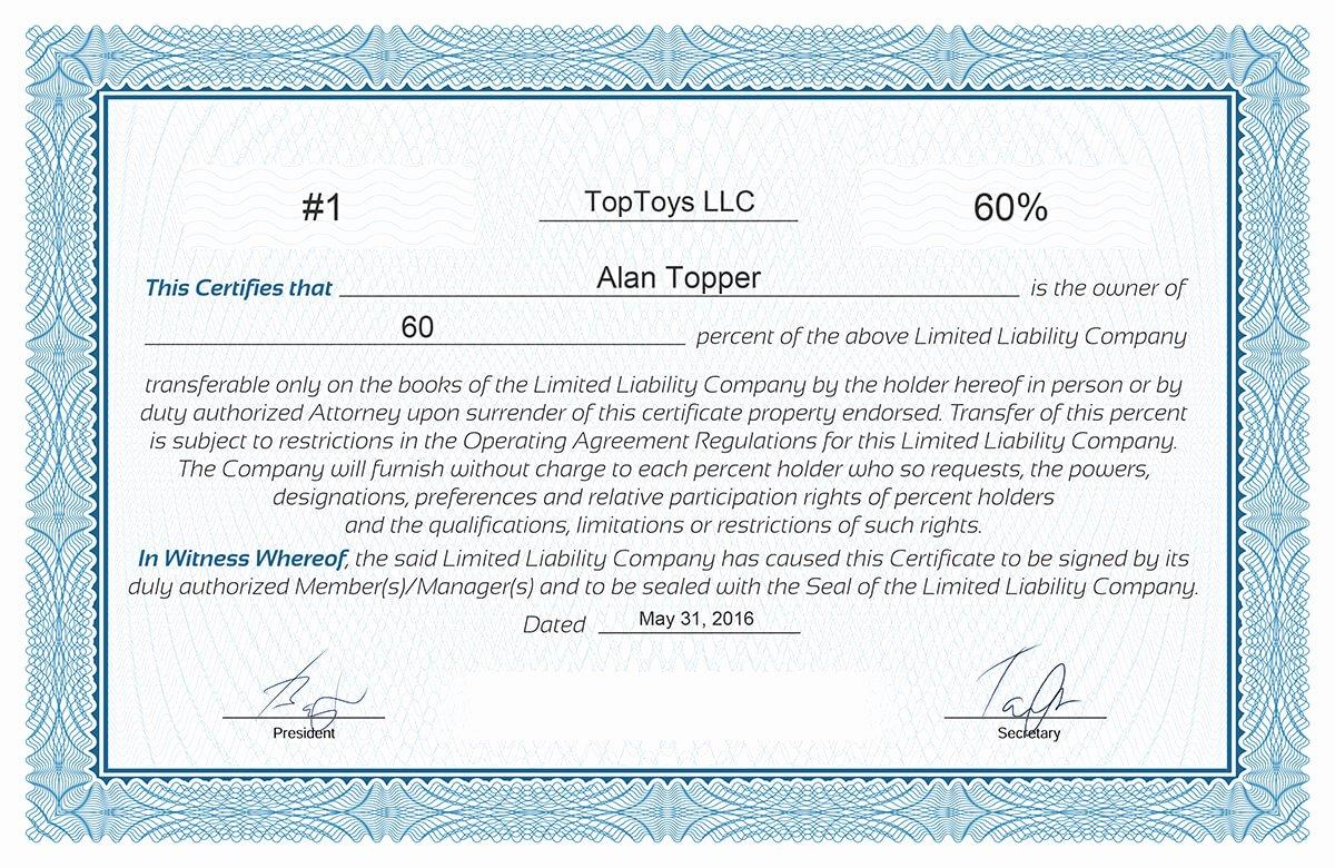 Llc Member Certificate Template Elegant Free Stock Certificate Online Generator