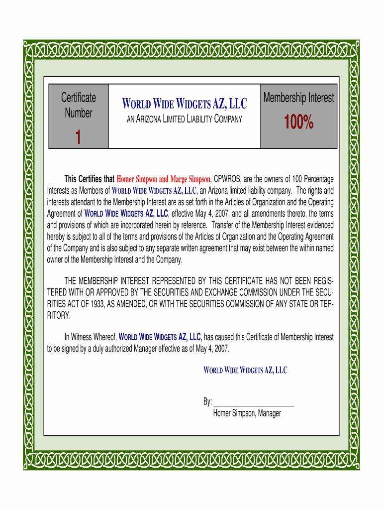 Llc Member Certificate Template Luxury Membership Certificate Llc Templatepdffiller Fill