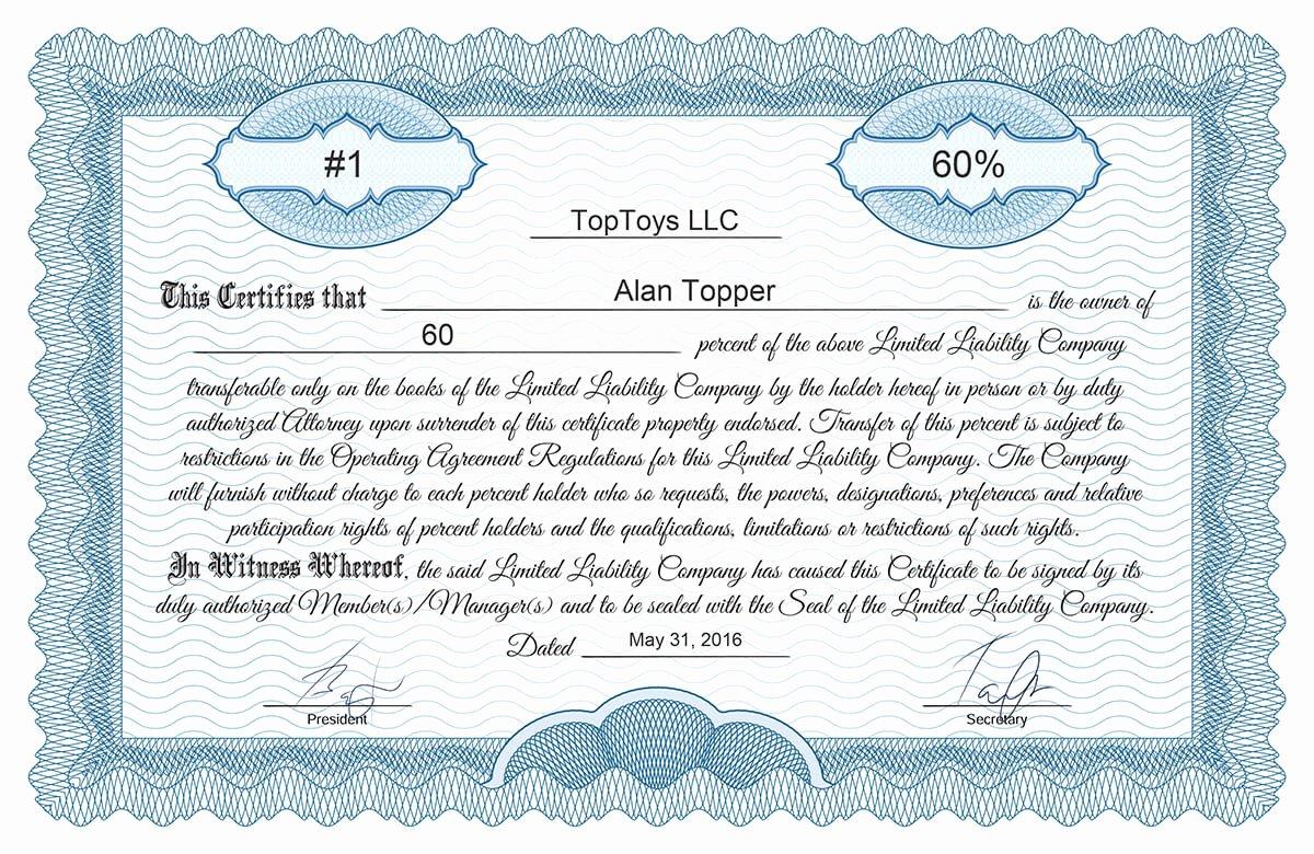 Llc Membership Certificate Template Fresh Free Stock Certificate Online Generator