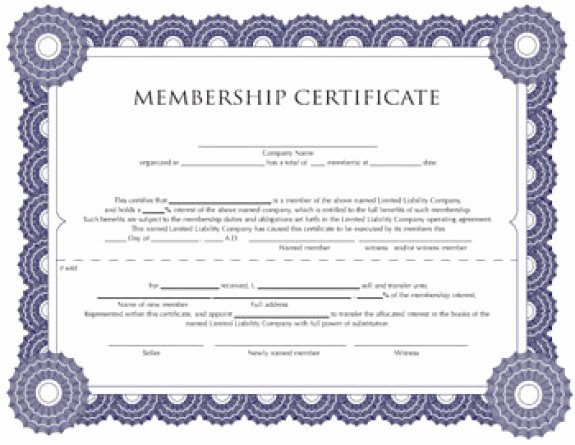 Llc Membership Certificate Template Word Beautiful Membership Certificate Templates Word Excel Samples