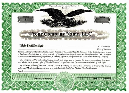 Llc Membership Certificate Template Word Inspirational Custom Printed Certificates Limited Liability Pany