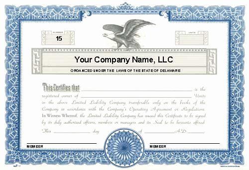 Llc Membership Certificate Template Word New Custom Printed Certificates Limited Liability Pany
