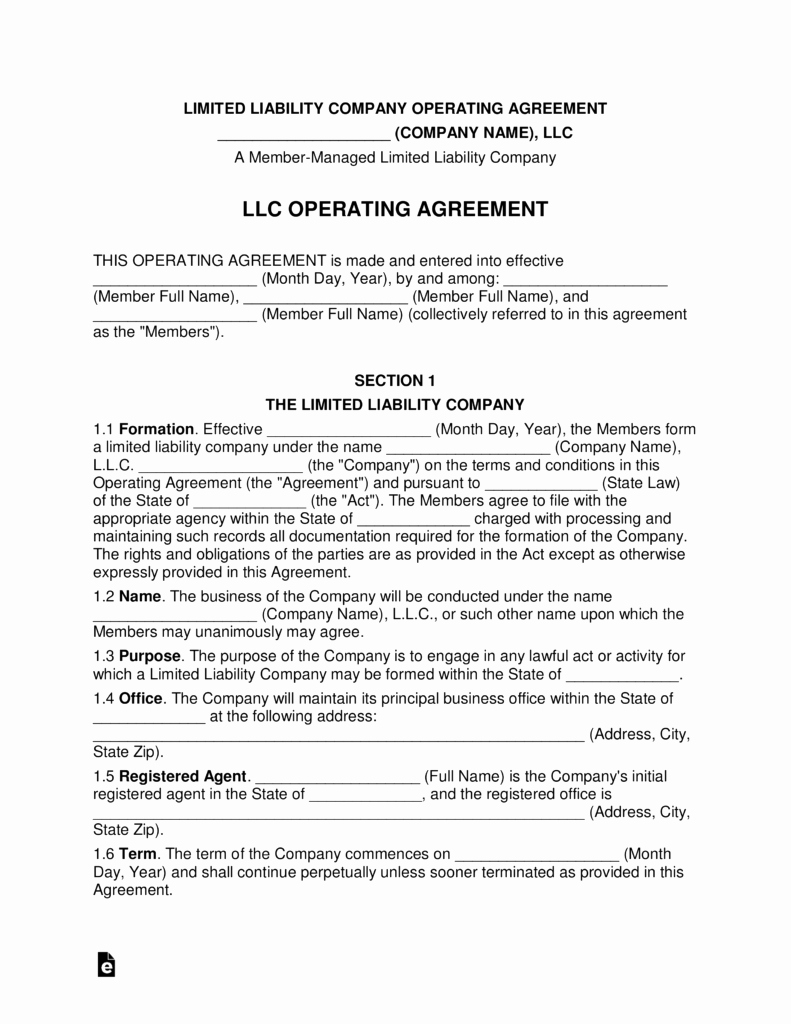 Llc Ownership Transfer Agreement Template Awesome Multi Member Llc Operating Agreement Template